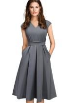 Effen kleur v-hals vintage jurk met kapmouwtjes