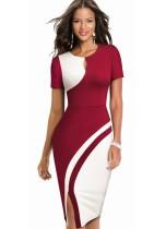 Kontrast O-Neck Slit Keyhole Midi-Kleid mit kurzen Ärmeln