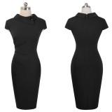Kısa kollu düz renk v yaka Vintage Midi elbise