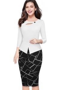 Print White and Black Peplum Office Dress