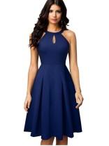 Effen kleur sleutelgat Vintage jurk