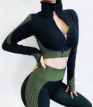 Kontrast Yoga Long Sleeve Zipper Shirt und Legging Set