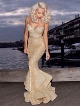 Altın Sequins Sapanlar Mermaid Abiye