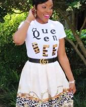 Wit pailletten zomerhemd met ronde hals