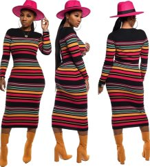 Striped Print Long Knitting Dress with Sleeves