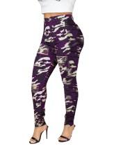 Jeans de cintura alta com estampa camou