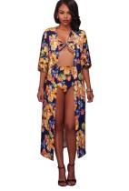 Imprimir traje de baño floral de cintura alta con tapa a juego