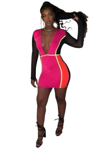 Color Block Deep-V Sexy, figurbetontes Kleid mit langen Ärmeln