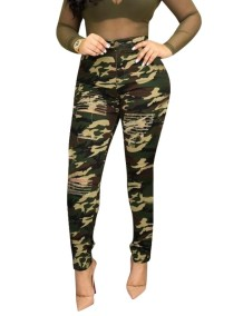 Camou Print High Waist Ripped Jeans