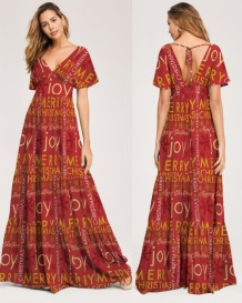 Print V-Neck Maxi Dress with Short Sleeves