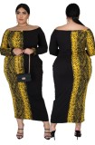 Plus Size Off Shoulder Leopard Langes Kleid mit Ärmeln