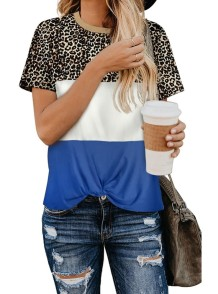 Summer O-Neck Contrast Leopard Shirt