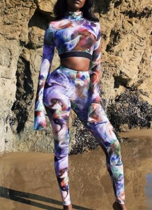 Sexy Tight Colorful Crop Top and Pants Set