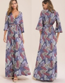 Print V-Neck Maxi Dress with Sleeves
