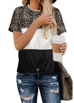 Summer O-Neck Contrast Leopard Shirt
