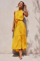 Elegante lange jurk met ronde hals afdrukken