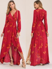 Floral Print V-Neck Irregular Maxi Dress with Sleeves