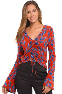 Print V-Neck Drawstring Shirt with Sleeves