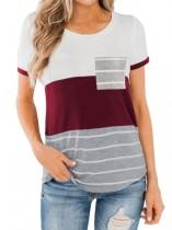Summer O-Neck Contrast Shirt