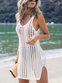 Verão escavar vestido de praia de fenda