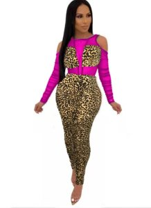 Cut Out Omuz Uzun Kollu Leopar Bodycon Elbise
