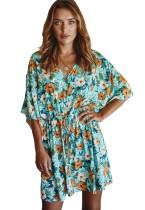 Robe décontractée à imprimé floral à col en V d'été