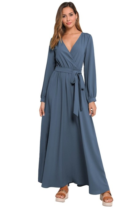 Print Long Sleeves Wrapped Maxi Dress