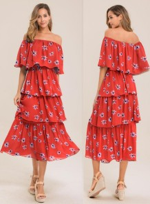 Print Off Shoulder Layer Langes Kleid