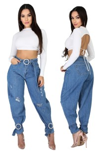 Blue Denim Pop Jeans de cintura alta