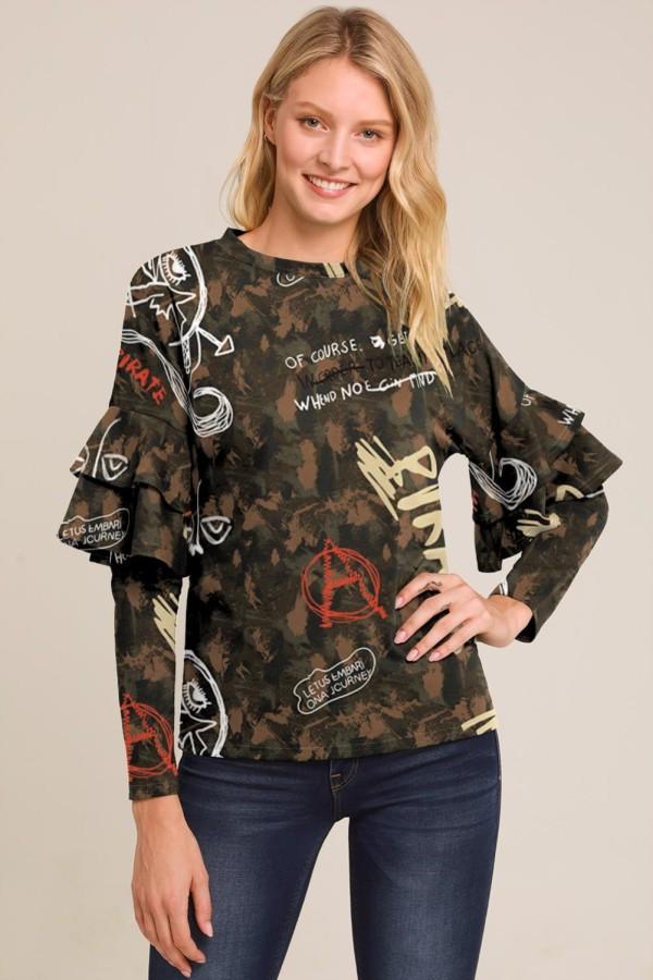 Camisa O-cuello estampada con mangas volantes