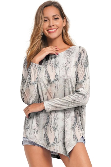 Print O-Neck Irregular Shirt with Sleeves