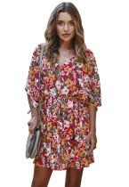 Vestido informal con cuello en V y estampado floral de verano