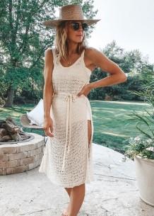 Verão Crochet Slit Beach Dress