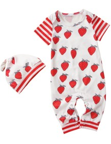 Baby Girl Print Summer Onesie Rompers and Heat Set
