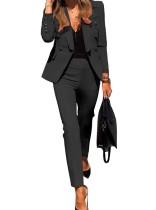 Blazer y pantalón de manga larga en color liso Traje de oficina
