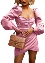 Robe portefeuille courte vintage à manches pop
