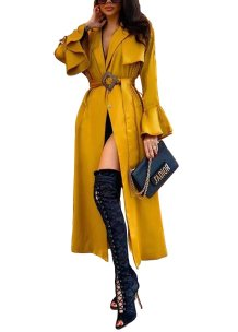 Solid Color Long Blouse Dress with Wide Cuffs