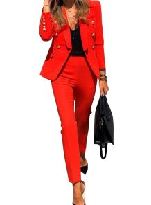 Solid Color Long Sleeves Blazer and Pants Office Suit