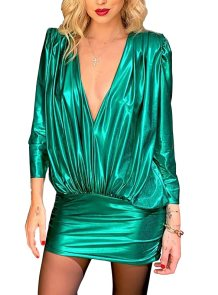 Sexy Loose and Fit Deep-V Metallic Club Dress