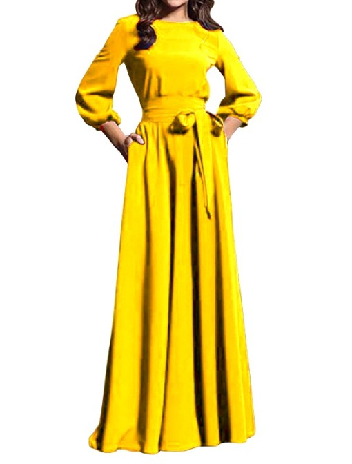 Solid Color O-Neck Maxi Dress with Belt