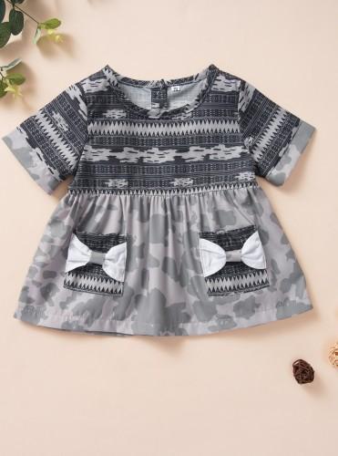 Kinder Mädchen Camou Print Sommer A-Line Shirt