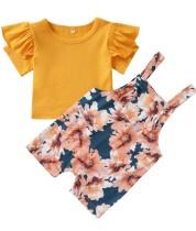 Camisa lisa de verano para niña y culotte corto con estampado