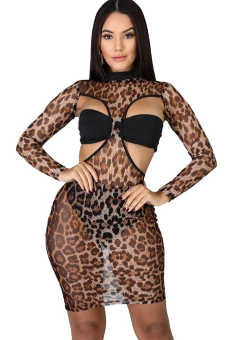 Sexy Cut Out Print Bodycon Dress with Underwear