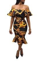 Vestido de sirena con estampado de hombros descubiertos