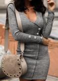 Mini robe sexy en tricot à manches longues