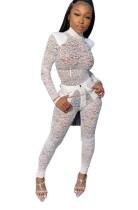 Conjunto de top y pantalones de encaje sexy transparente