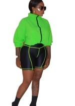 Neon Langarmjacke und schwarze Shorts Set