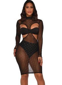 Sexy Cut Out Beaded Bodycon Dress with Underwear