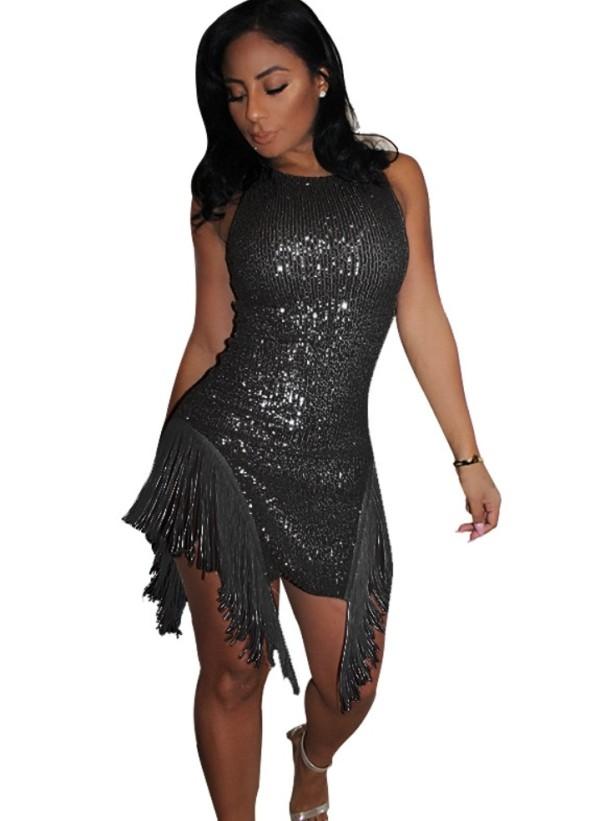 Сексуальное платье с кисточками без рукавов