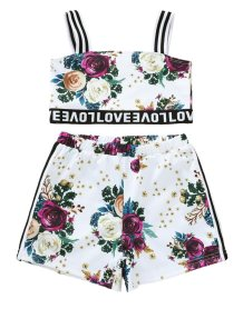 Kids Girl Floral Print Summer Crop Top and Shorts